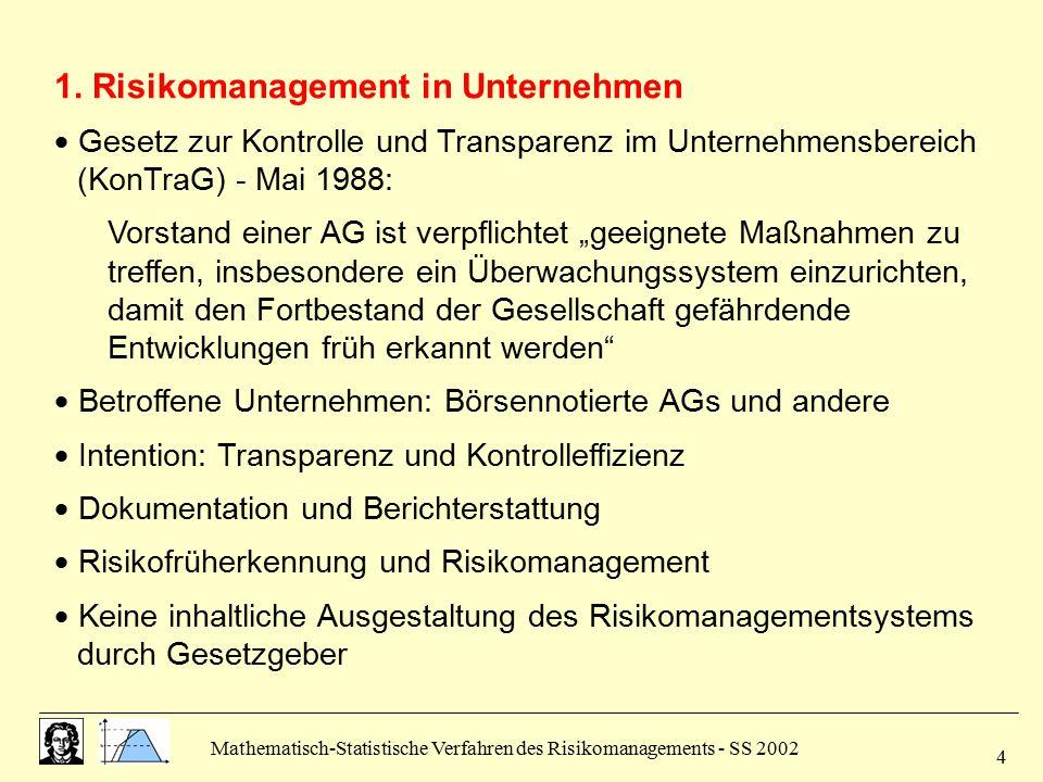 Mathematisch-Statistische Verfahren des Risikomanagements - SS 2002 4 1. Risikomanagement in Unternehmen  Gesetz zur Kontrolle und Transparenz im Unt