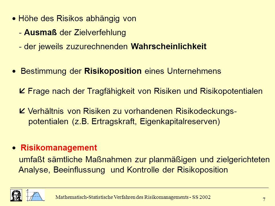 Mathematisch-Statistische Verfahren des Risikomanagements - SS 2002 7  Höhe des Risikos abhängig von - Ausmaß der Zielverfehlung - der jeweils zuzure