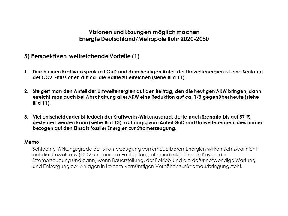 Visionen und Lösungen möglich machen Energie Deutschland/Metropole Ruhr 2020-2050 5) Perspektiven, weitreichende Vorteile (1) 1.Durch einen Kraftwerkspark mit GuD und dem heutigen Anteil der Umweltenergien ist eine Senkung der CO2-Emissionen auf ca.