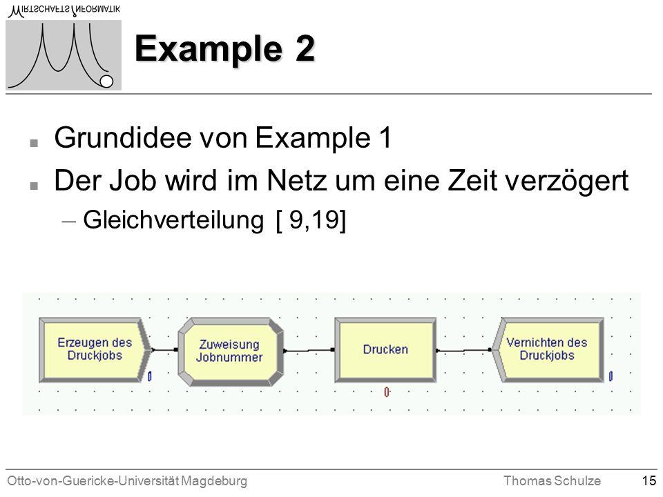 Otto-von-Guericke-Universität MagdeburgThomas Schulze15 Example 2 n Grundidee von Example 1 n Der Job wird im Netz um eine Zeit verzögert –Gleichverteilung [ 9,19]