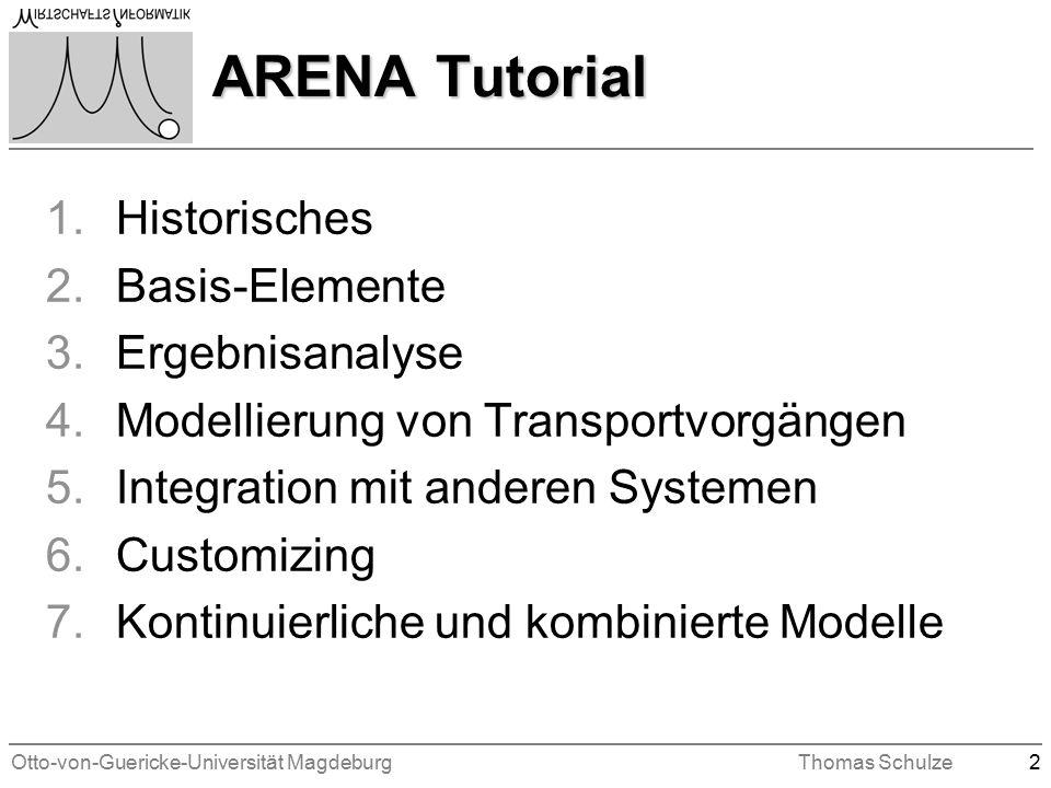 Otto-von-Guericke-Universität MagdeburgThomas Schulze2 ARENA Tutorial 1.Historisches 2.Basis-Elemente 3.Ergebnisanalyse 4.Modellierung von Transportvorgängen 5.Integration mit anderen Systemen 6.Customizing 7.Kontinuierliche und kombinierte Modelle