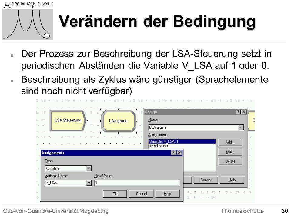 Otto-von-Guericke-Universität MagdeburgThomas Schulze30 Verändern der Bedingung n Der Prozess zur Beschreibung der LSA-Steuerung setzt in periodischen Abständen die Variable V_LSA auf 1 oder 0.