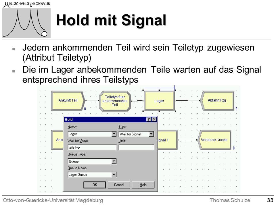 Otto-von-Guericke-Universität MagdeburgThomas Schulze33 Hold mit Signal n Jedem ankommenden Teil wird sein Teiletyp zugewiesen (Attribut Teiletyp) n Die im Lager anbekommenden Teile warten auf das Signal entsprechend ihres Teilstyps