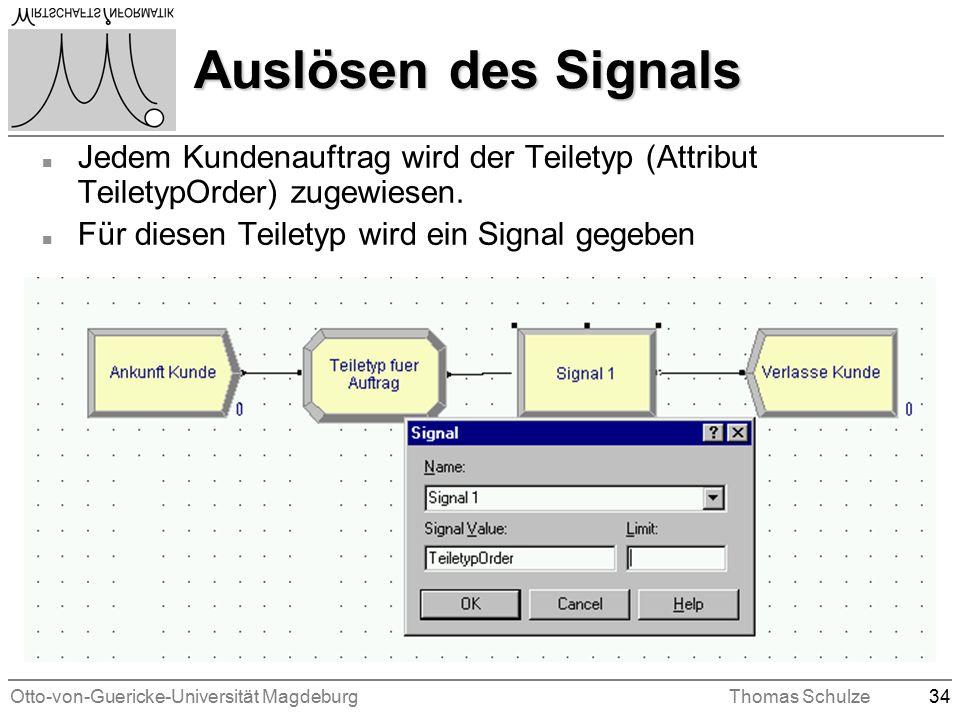 Otto-von-Guericke-Universität MagdeburgThomas Schulze34 Auslösen des Signals n Jedem Kundenauftrag wird der Teiletyp (Attribut TeiletypOrder) zugewiesen.