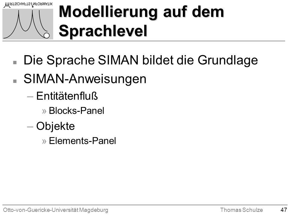 Otto-von-Guericke-Universität MagdeburgThomas Schulze47 Modellierung auf dem Sprachlevel n Die Sprache SIMAN bildet die Grundlage n SIMAN-Anweisungen –Entitätenfluß »Blocks-Panel –Objekte »Elements-Panel