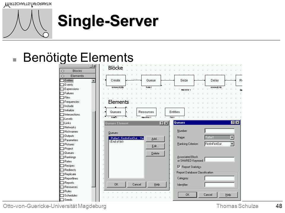 Otto-von-Guericke-Universität MagdeburgThomas Schulze48 Single-Server n Benötigte Elements