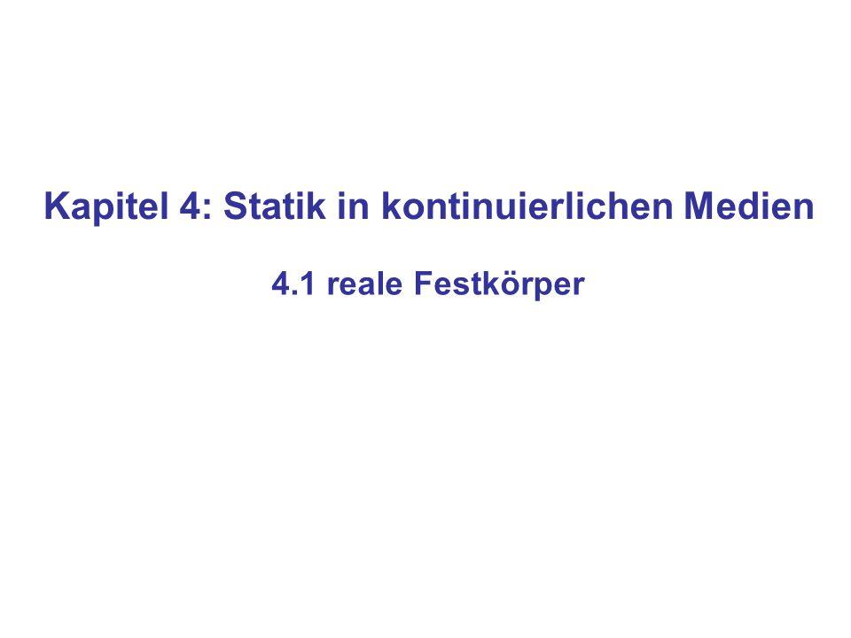 Kapitel 4: Statik in kontinuierlichen Medien 4.1 reale Festkörper