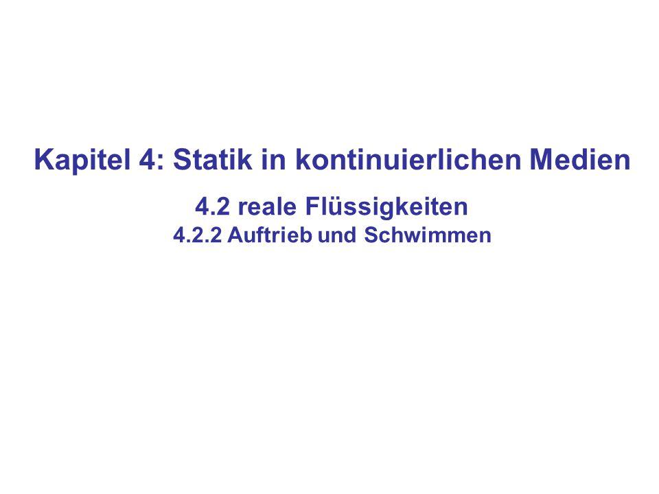 Kapitel 4: Statik in kontinuierlichen Medien 4.2 reale Flüssigkeiten 4.2.2 Auftrieb und Schwimmen