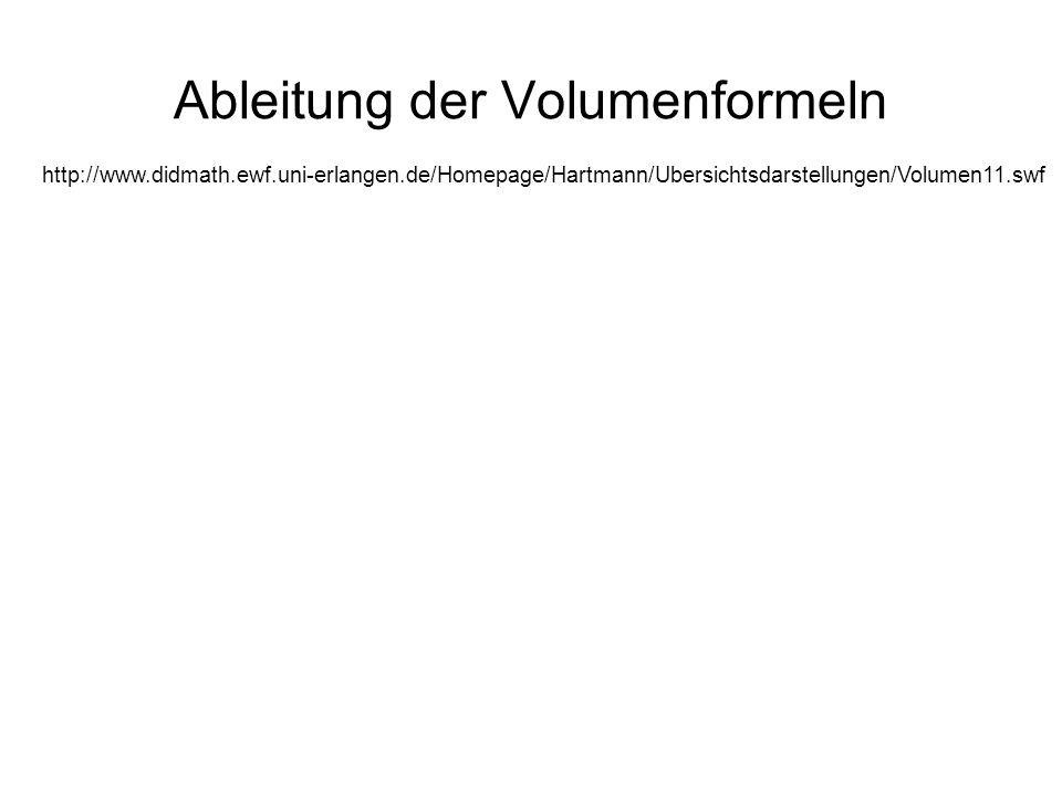 Ableitung der Volumenformeln http://www.didmath.ewf.uni-erlangen.de/Homepage/Hartmann/Ubersichtsdarstellungen/Volumen11.swf