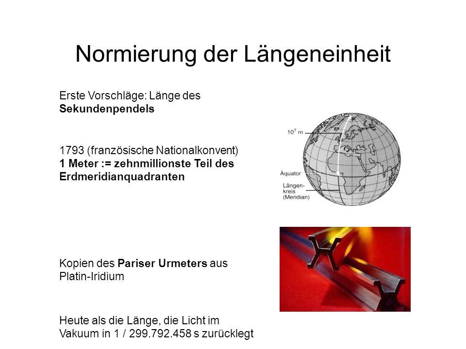 Normierung der Längeneinheit 1793 (französische Nationalkonvent) 1 Meter := zehnmillionste Teil des Erdmeridianquadranten Kopien des Pariser Urmeters