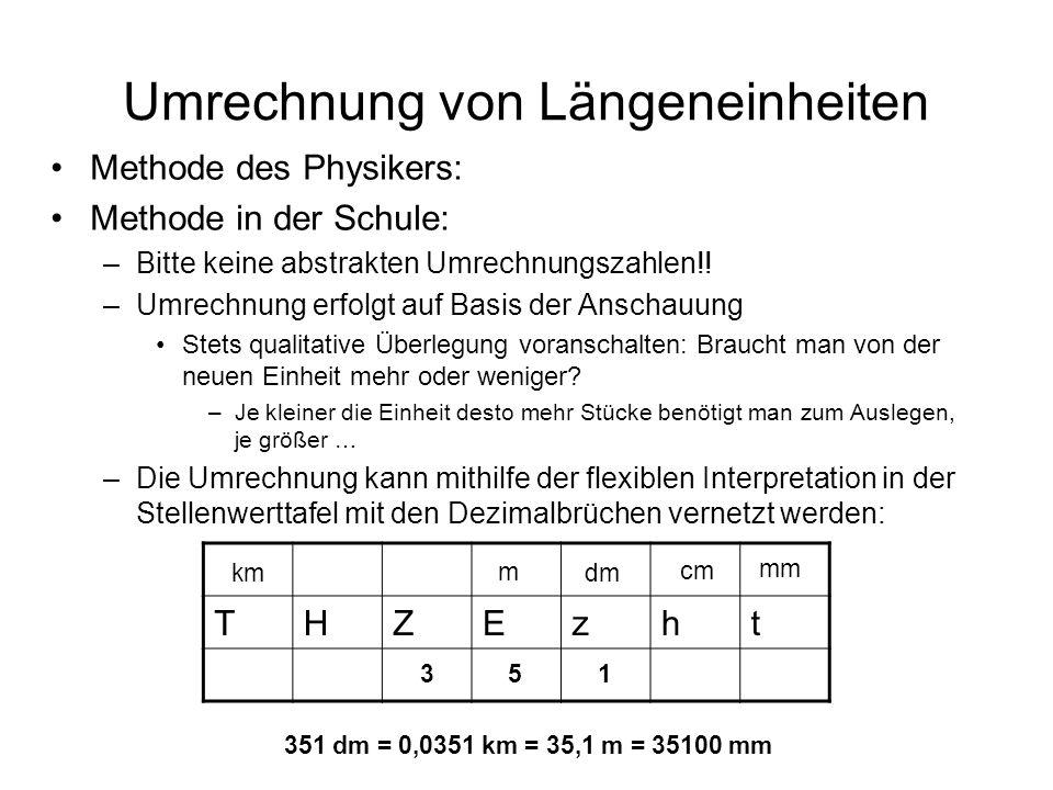 Umrechnung von Längeneinheiten Methode des Physikers: Methode in der Schule: –Bitte keine abstrakten Umrechnungszahlen!! –Umrechnung erfolgt auf Basis