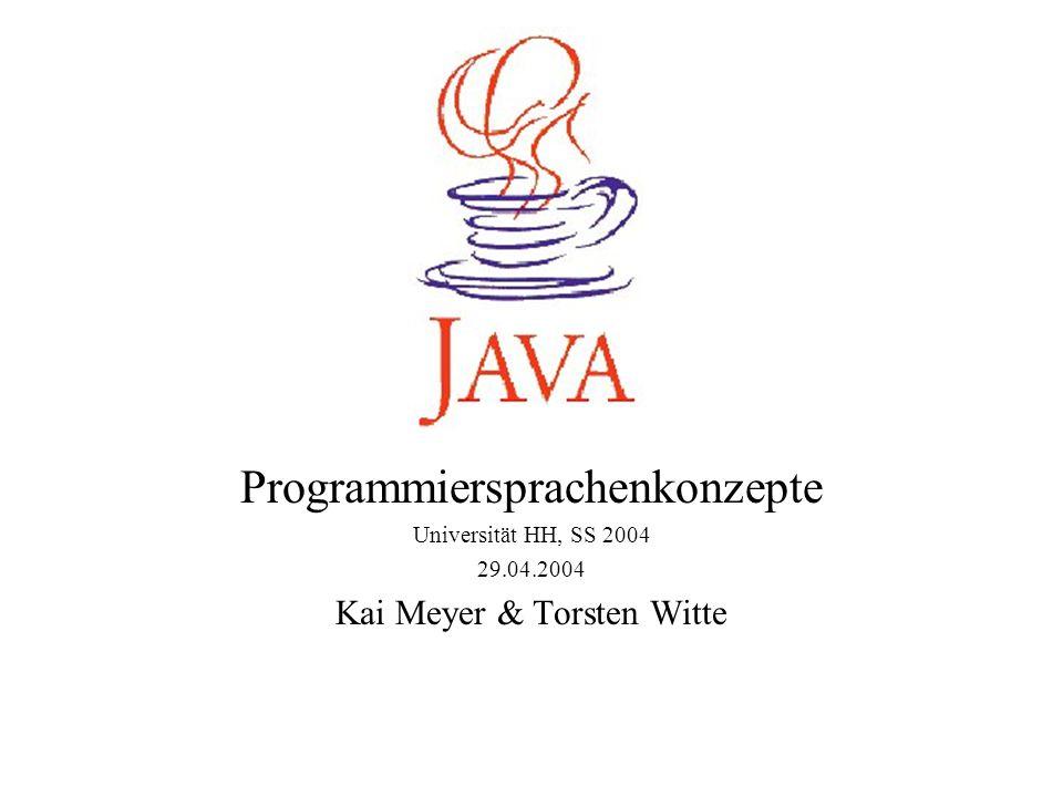 Threads Java unterstützt die nebenläufige Programmierung direkt Das Konzept beruht auf so genannten Threads (zu Deutsch »Faden« oder »Ausführungsstrang«), das sind parallel ablaufende Aktivitäten, die sehr schnell in der Umschaltung sind Threads können vom Scheduler sehr viel schneller umgeschaltet werden als Prozesse, sodass wenig Laufzeitverlust entsteht Threads werden entweder direkt von dem Betriebssystem unterstützt oder von der virtuellen Maschine simuliert Die Integration in die Sprache macht das Entwerfen nebenläufiger Anwendungen in Java einfacher Java realisiert gegenseitigen Ausschluss von Methoden verschiedener Threads, Methoden gleicher Threads schließen sich nicht aus