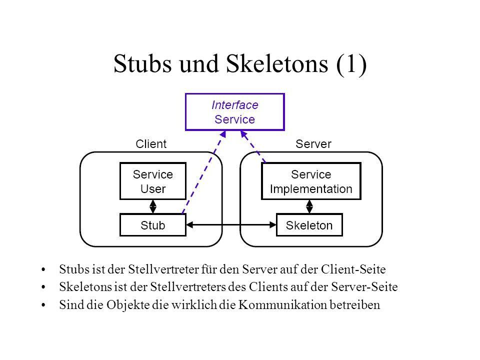 Stubs und Skeletons (1) Stubs ist der Stellvertreter für den Server auf der Client-Seite Skeletons ist der Stellvertreters des Clients auf der Server-