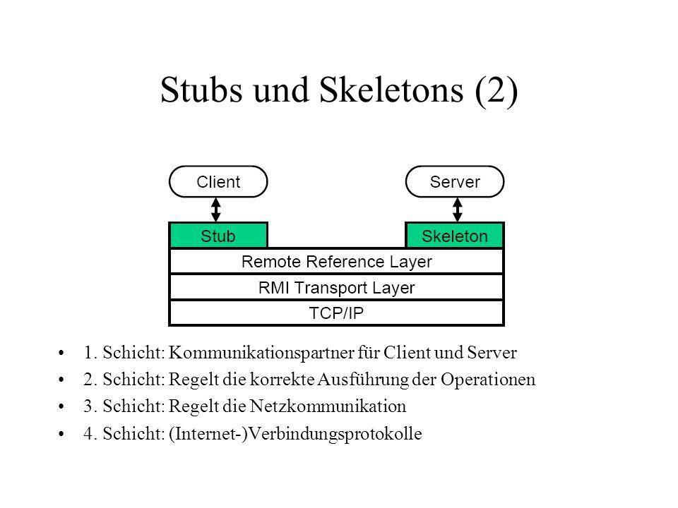 Stubs und Skeletons (2) 1. Schicht: Kommunikationspartner für Client und Server 2. Schicht: Regelt die korrekte Ausführung der Operationen 3. Schicht: