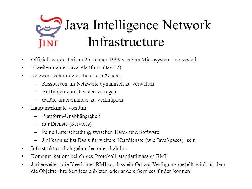 Jini Java Intelligence Network Infrastructure Offiziell wurde Jini am 25. Januar 1999 von Sun Microsystems vorgestellt Erweiterung der Java-Plattform