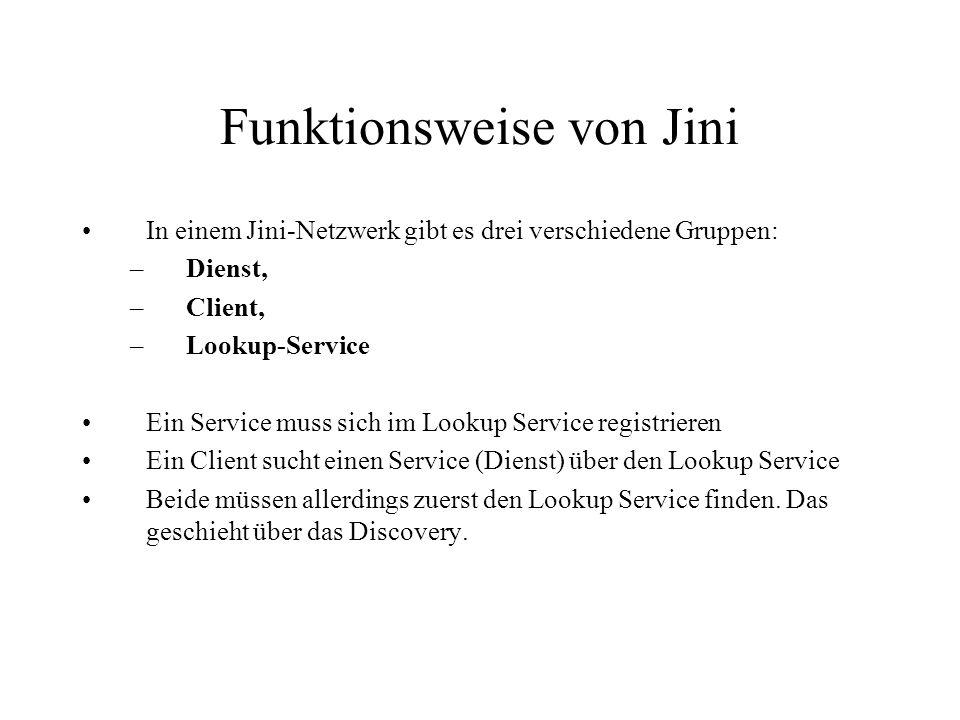 Funktionsweise von Jini In einem Jini-Netzwerk gibt es drei verschiedene Gruppen: –Dienst, –Client, –Lookup-Service Ein Service muss sich im Lookup Se