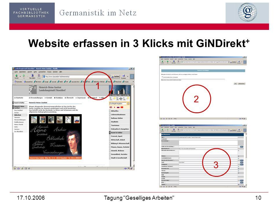 17.10.2006Tagung Geselliges Arbeiten 10 Website erfassen in 3 Klicks mit GiNDirekt + 1 2 3