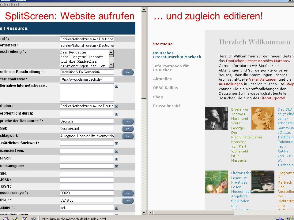 17.10.2006Tagung Geselliges Arbeiten 11 SplitScreen: Website aufrufen … und zugleich editieren!
