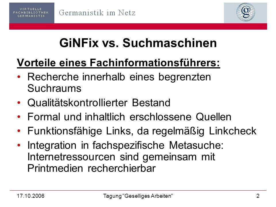 17.10.2006Tagung Geselliges Arbeiten 2 GiNFix vs.