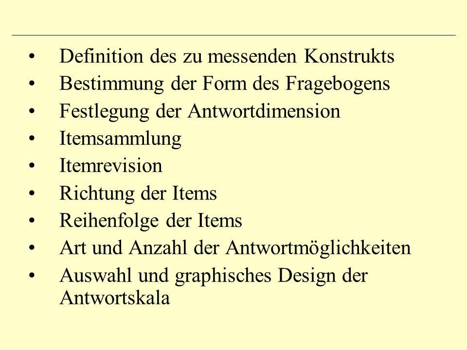 Definition des zu messenden Konstrukts Bestimmung der Form des Fragebogens Festlegung der Antwortdimension Itemsammlung Itemrevision Richtung der Item