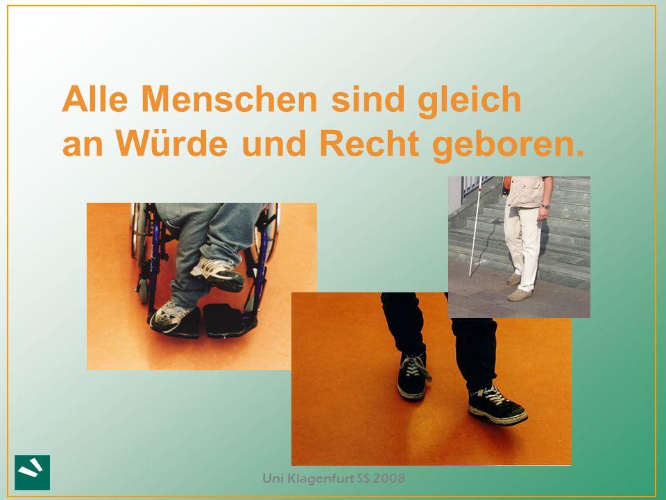 """Uni Klagenfurt SS 2008 Rollenvielfalt als Zeichen für Gleichberechtigung Welche Rollen sind für """"Behinderte vorgesehen?"""