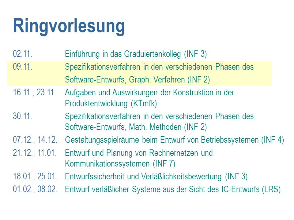 Ringvorlesung 02.11. Einführung in das Graduiertenkolleg (INF 3) 09.11. Spezifikationsverfahren in den verschiedenen Phasen des Software-Entwurfs, Gra