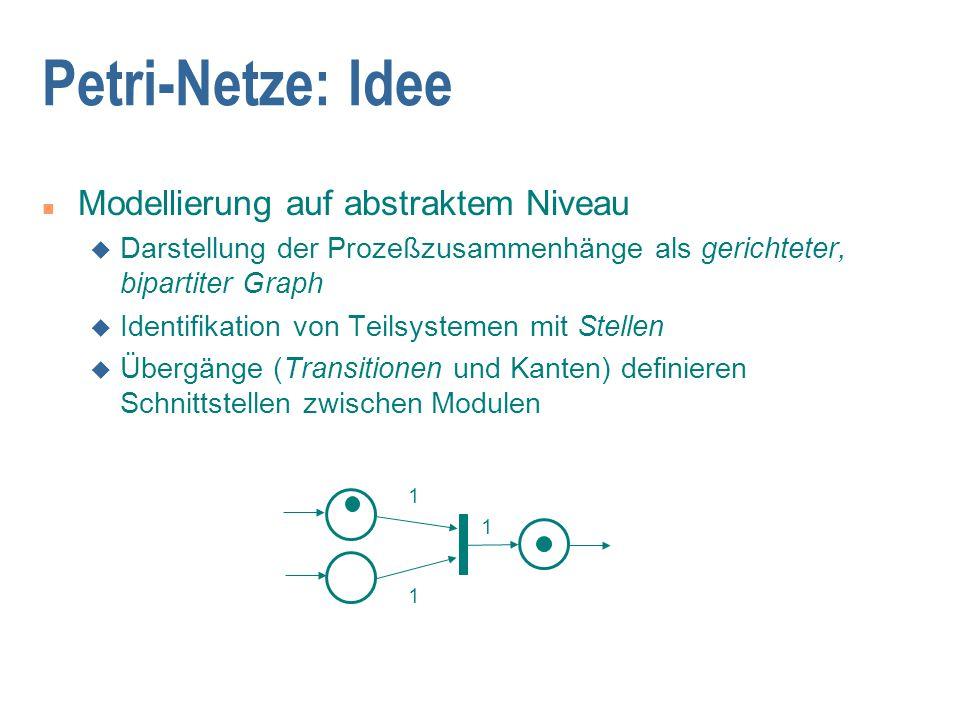 Petri-Netze: Idee n Modellierung auf abstraktem Niveau u Darstellung der Prozeßzusammenhänge als gerichteter, bipartiter Graph u Identifikation von Te
