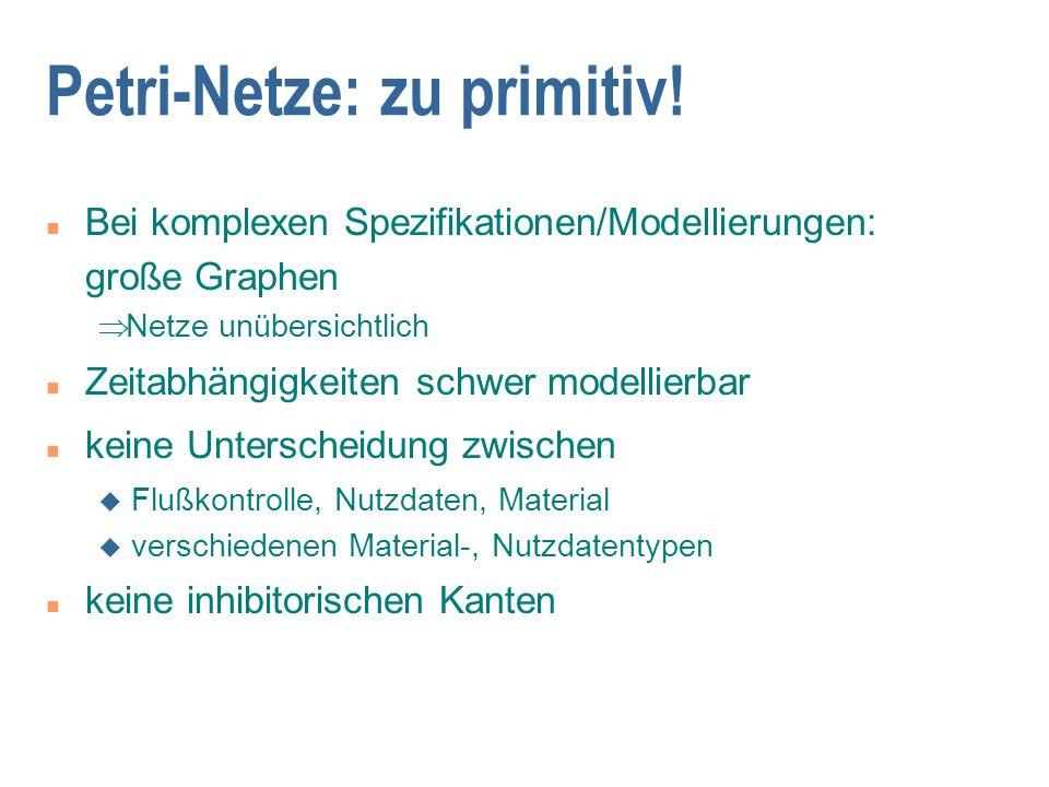Petri-Netze: zu primitiv! n Bei komplexen Spezifikationen/Modellierungen: große Graphen  Netze unübersichtlich n Zeitabhängigkeiten schwer modellier
