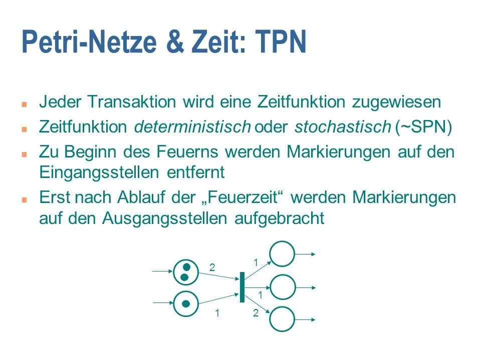 2 1 1 1 2 Petri-Netze & Zeit: TPN n Jeder Transaktion wird eine Zeitfunktion zugewiesen n Zeitfunktion deterministisch oder stochastisch (~SPN) n Zu B