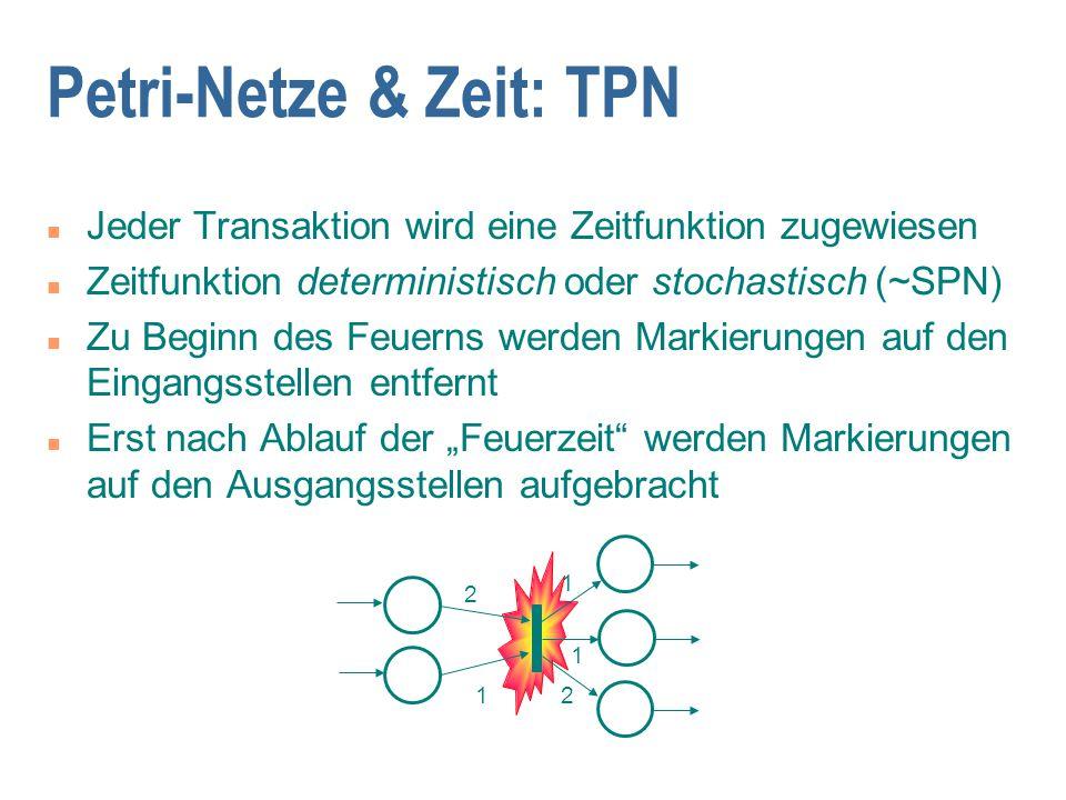 Petri-Netze & Zeit: TPN n Jeder Transaktion wird eine Zeitfunktion zugewiesen n Zeitfunktion deterministisch oder stochastisch (~SPN) n Zu Beginn des