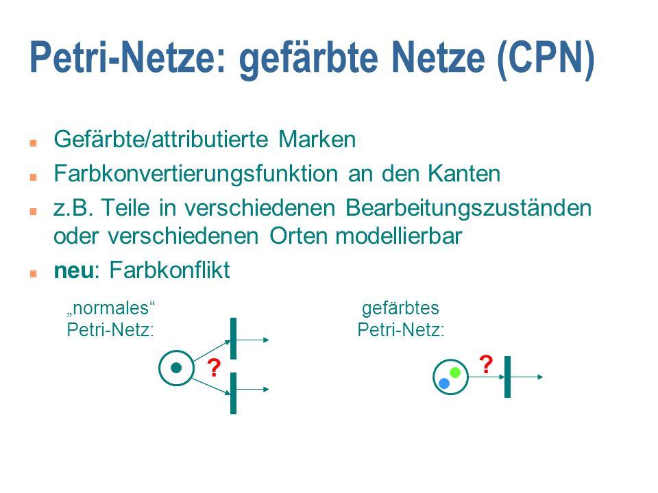 Petri-Netze: gefärbte Netze (CPN) n Gefärbte/attributierte Marken n Farbkonvertierungsfunktion an den Kanten n z.B. Teile in verschiedenen Bearbeitung