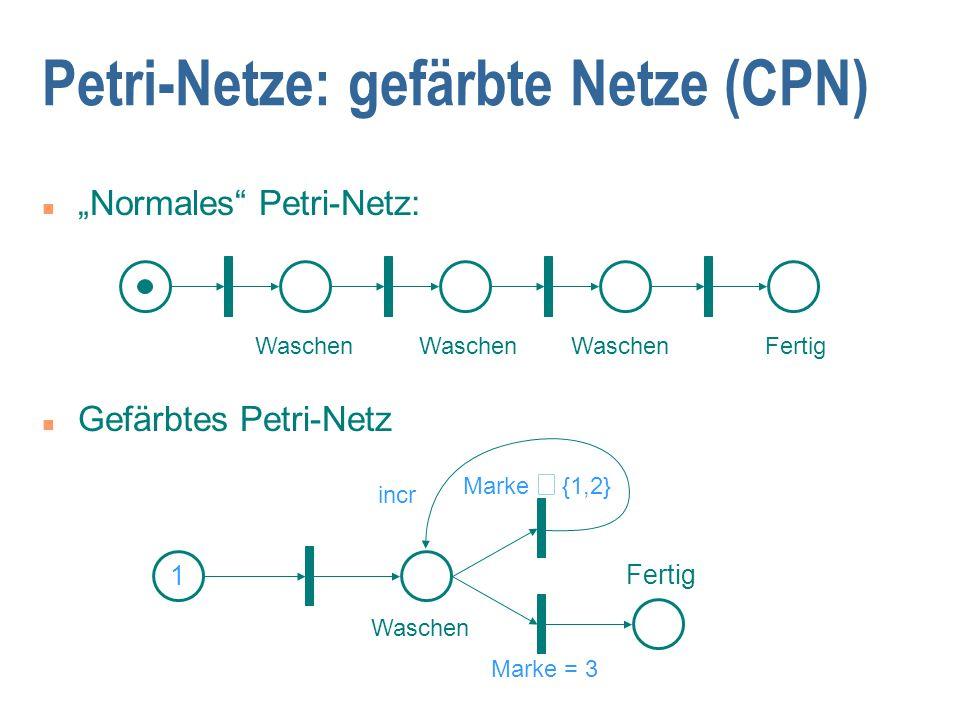 """n """"Normales Petri-Netz: n Gefärbtes Petri-Netz Petri-Netze: gefärbte Netze (CPN) Waschen Fertig 1 Marke  {1,2} Marke = 3 Fertig incr Waschen"""