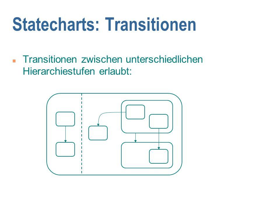 Statecharts: Transitionen n Transitionen zwischen unterschiedlichen Hierarchiestufen erlaubt: