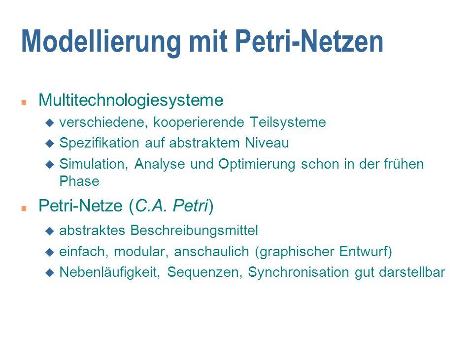 Modellierung mit Petri-Netzen n Multitechnologiesysteme u verschiedene, kooperierende Teilsysteme u Spezifikation auf abstraktem Niveau u Simulation, Analyse und Optimierung schon in der frühen Phase n Petri-Netze (C.A.