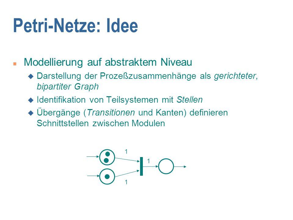 Petri-Netze: gefärbte Netze (CPN) n Gefärbte/attributierte Marken n Farbkonvertierungsfunktion an den Kanten n z.B.