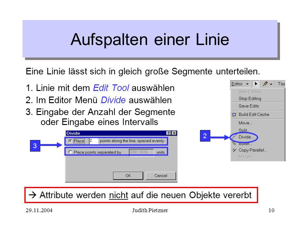 29.11.2004Judith Pietzner10 Aufspalten einer Linie Eine Linie lässt sich in gleich große Segmente unterteilen.