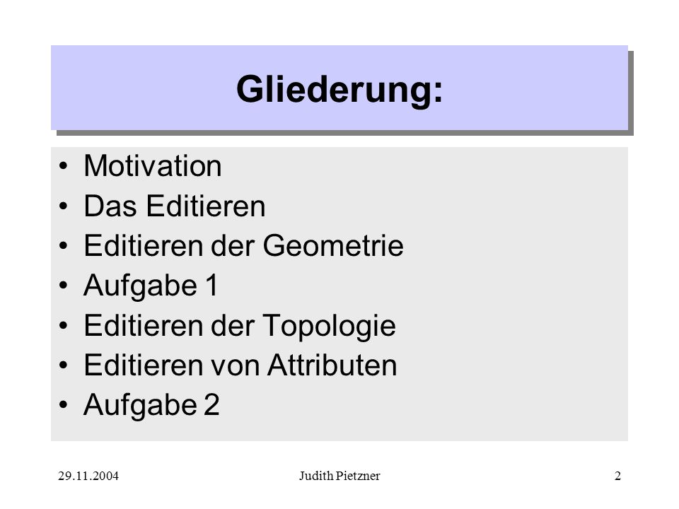 29.11.2004Judith Pietzner2 Gliederung: Motivation Das Editieren Editieren der Geometrie Aufgabe 1 Editieren der Topologie Editieren von Attributen Aufgabe 2