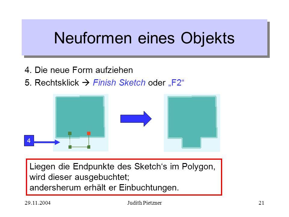 29.11.2004Judith Pietzner21 4. Die neue Form aufziehen 5.
