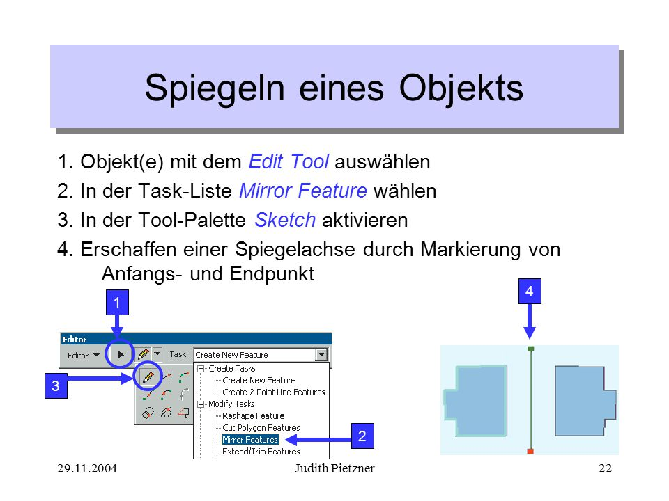 29.11.2004Judith Pietzner22 Spiegeln eines Objekts 1.