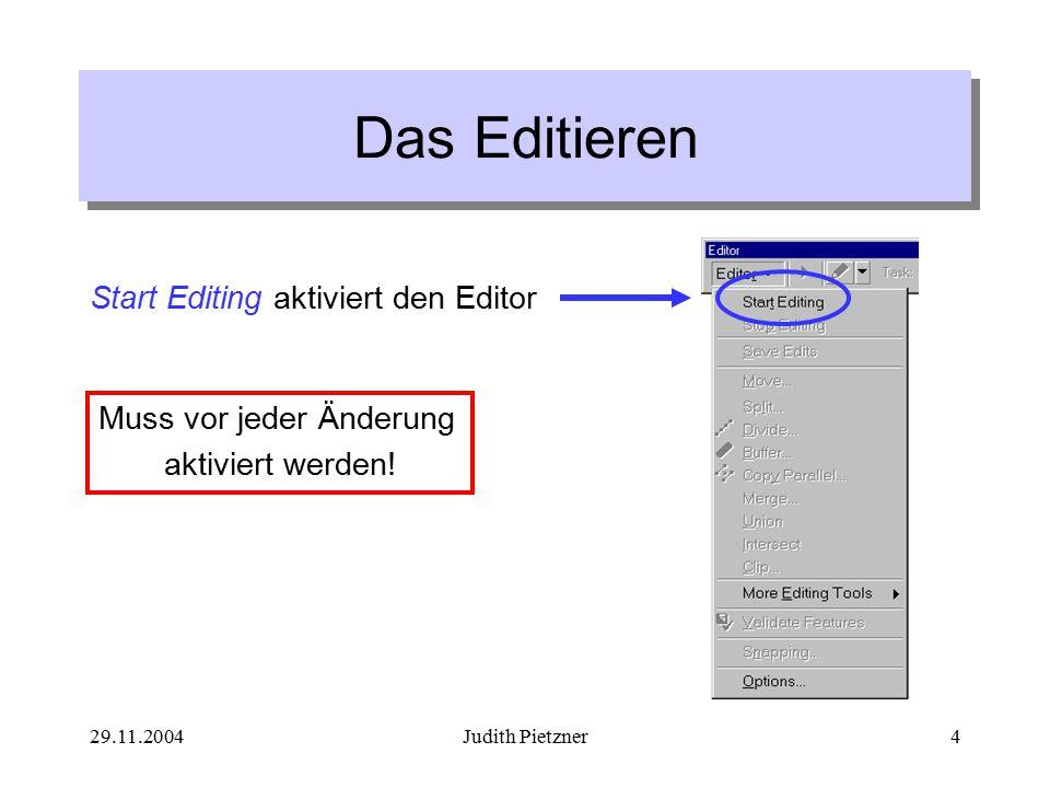 29.11.2004Judith Pietzner15 Stutzen einer Linie Stutzen einer bestimmten Länge vom letzten Sketch-Punkt: 1.