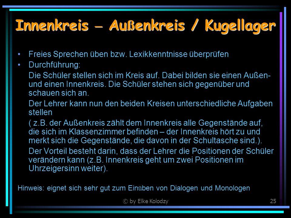 © by Elke Kolodzy25 Innenkreis – Au ß enkreis / Kugellager Freies Sprechen üben bzw. Lexikkenntnisse überprüfen Durchführung: Die Schüler stellen sich