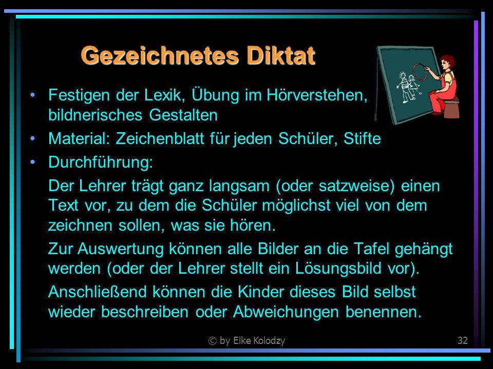 © by Elke Kolodzy32 Gezeichnetes Diktat Festigen der Lexik, Übung im Hörverstehen, bildnerisches Gestalten Material: Zeichenblatt für jeden Schüler, S