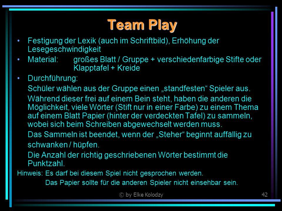 © by Elke Kolodzy42 Team Play Festigung der Lexik (auch im Schriftbild), Erhöhung der Lesegeschwindigkeit Material:großes Blatt / Gruppe + verschieden