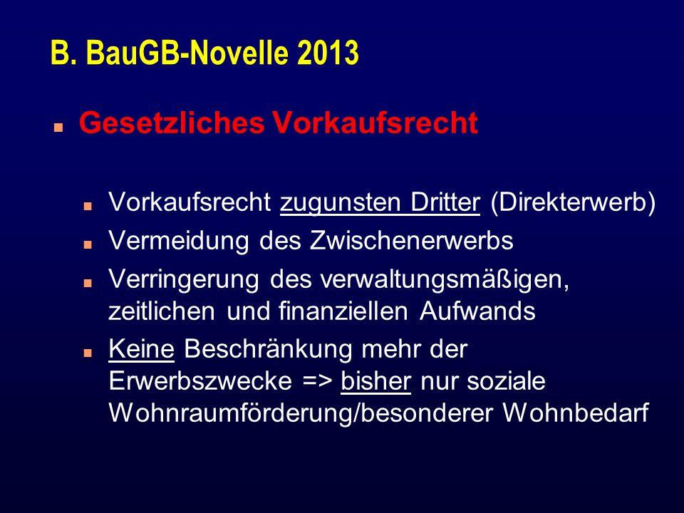 B. BauGB-Novelle 2013 n Gesetzliches Vorkaufsrecht n Vorkaufsrecht zugunsten Dritter (Direkterwerb) n Vermeidung des Zwischenerwerbs n Verringerung de