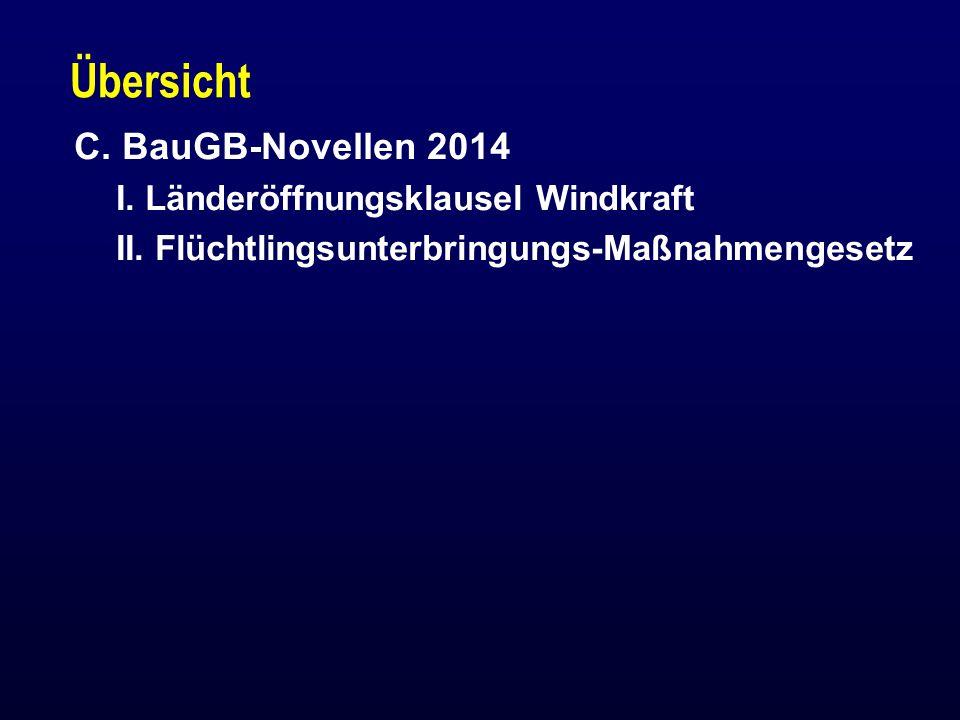 Übersicht C.BauGB-Novellen 2014 I. Länderöffnungsklausel Windkraft II.