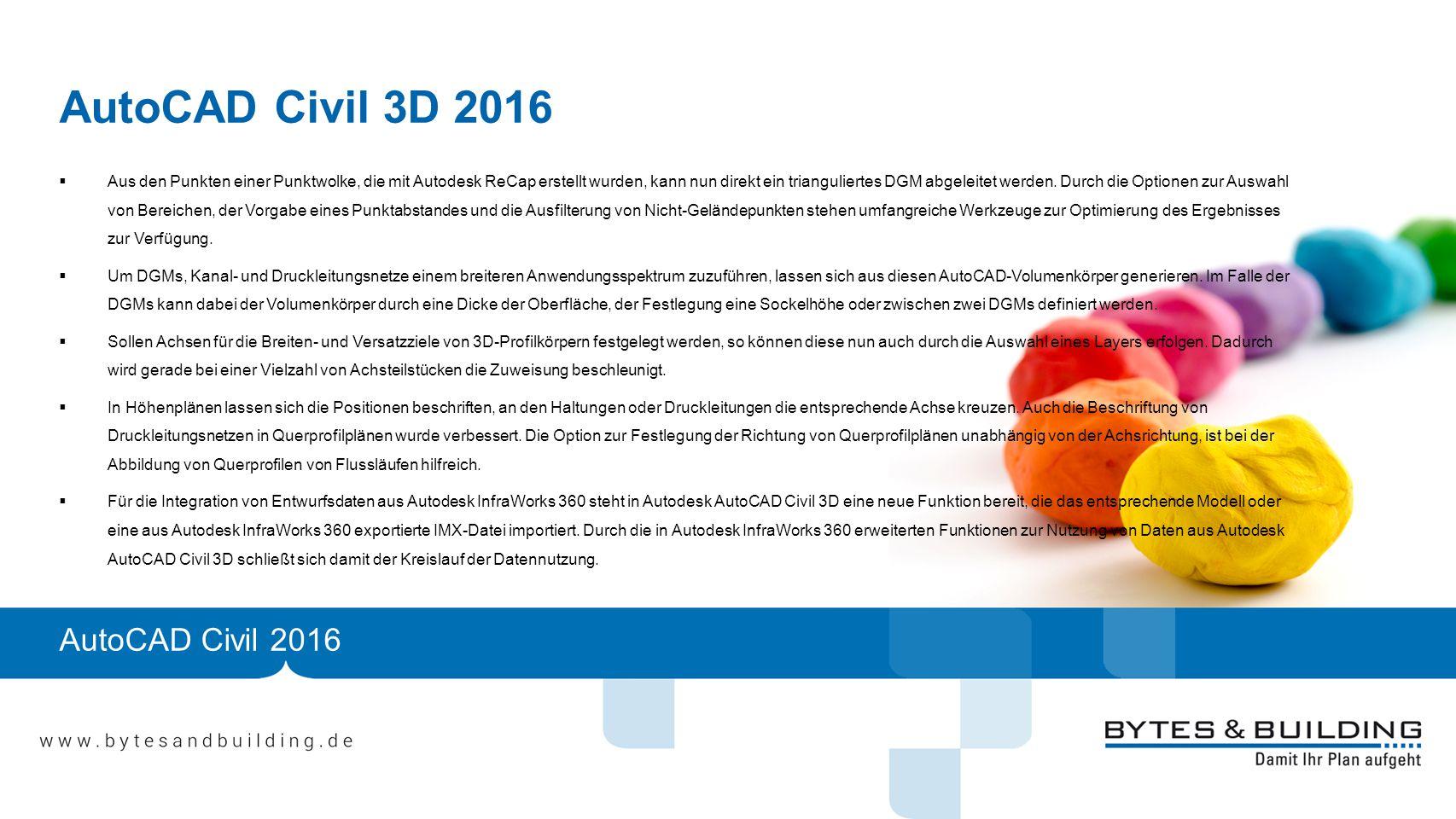 AutoCAD Civil 3D 2016  Aus den Punkten einer Punktwolke, die mit Autodesk ReCap erstellt wurden, kann nun direkt ein trianguliertes DGM abgeleitet werden.
