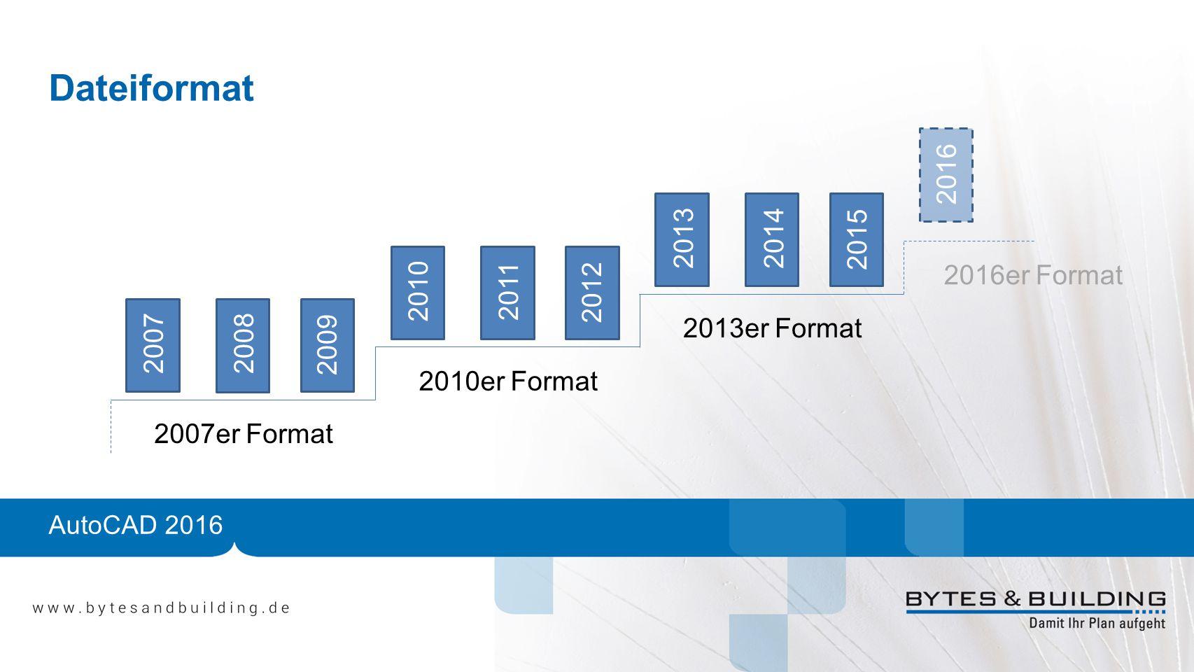 AutoCAD 2016 Dateiformat 20072008 2009 2010 2011 2012 20132014 2015 2016 2007er Format 2010er Format 2013er Format 2016er Format