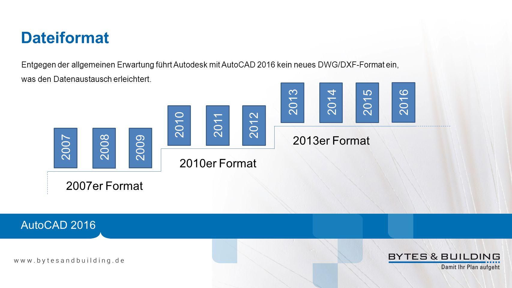 AutoCAD 2016 Dateiformat 20072008 2009 2010 2011 2012 20132014 2015 2007er Format 2010er Format 2013er Format 2016 Entgegen der allgemeinen Erwartung führt Autodesk mit AutoCAD 2016 kein neues DWG/DXF-Format ein, was den Datenaustausch erleichtert.