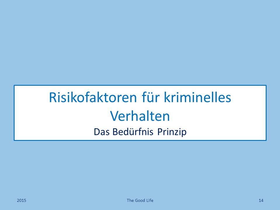 Risikofaktoren für kriminelles Verhalten Das Bedürfnis Prinzip 2015The Good Life14