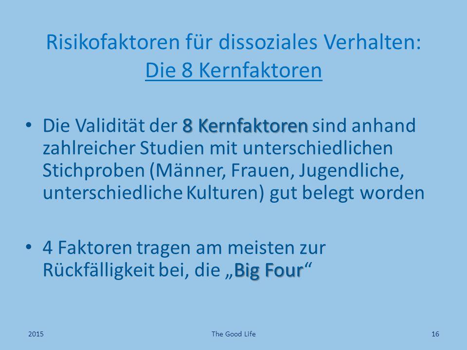 Risikofaktoren für dissoziales Verhalten: Die 8 Kernfaktoren 8 Kernfaktoren Die Validität der 8 Kernfaktoren sind anhand zahlreicher Studien mit unter